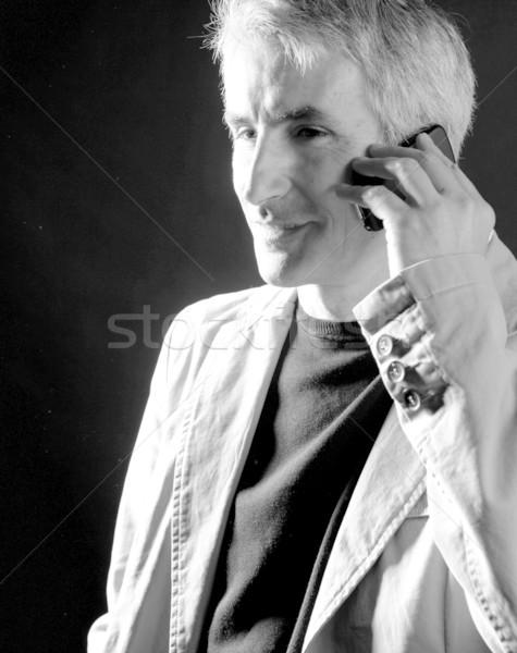 Biznesmen wzywając telefonu starszy siwe włosy portret Zdjęcia stock © lunamarina