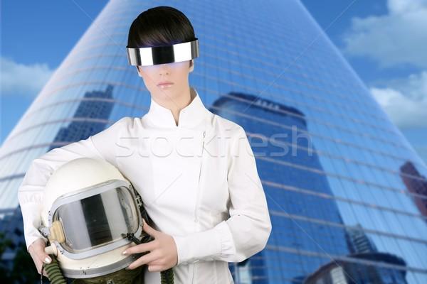 футуристический космический корабль самолета астронавт шлема женщину Сток-фото © lunamarina