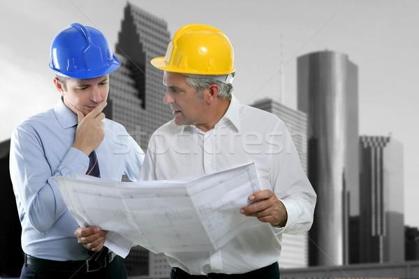 Mérnök építész kettő szakértelem csapat terv Stock fotó © lunamarina