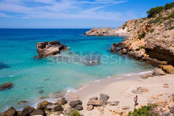Stock photo: Cala Tarida in Ibiza beach at Balearic Islands