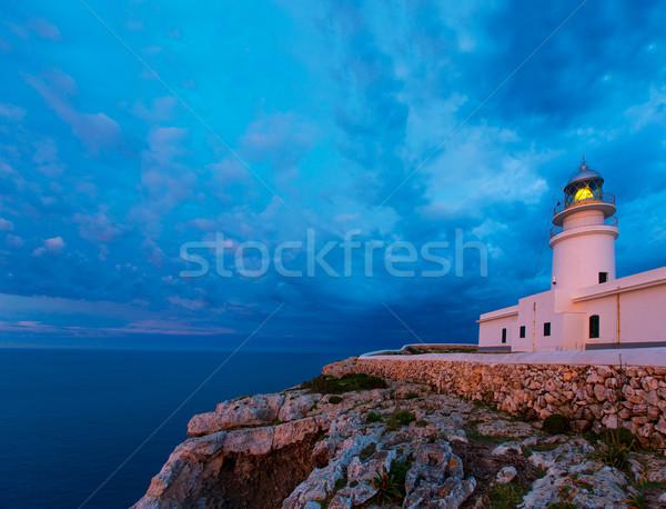 Menorca sunset at Faro de Caballeria Lighthouse Stock photo © lunamarina