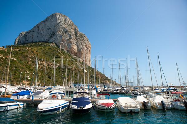 Calpe Alicante marina boats with Penon de Ifach Stock photo © lunamarina