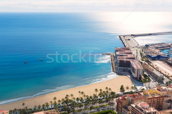 Alicante Postiguet beach view from Santa Barbara Castle Stock photo © lunamarina