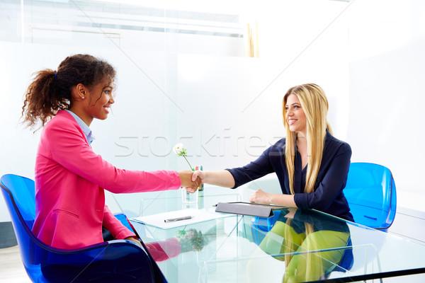 üzletasszonyok interjú kézfogás többnemzetiségű szőke ül Stock fotó © lunamarina