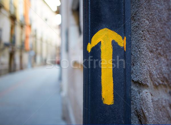 Burgos city Way of Saint James yellow arrow sign Stock photo © lunamarina