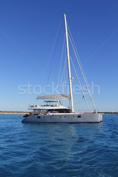 big catamaran anchored in Illetes Formentera Stock photo © lunamarina