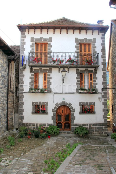 Pyrenees stone houses in Anso valley Huesca Stock photo © lunamarina