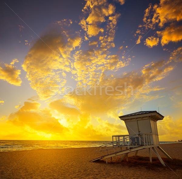 Fort lauderdale plaj gündoğumu Florida sabah ABD Stok fotoğraf © lunamarina