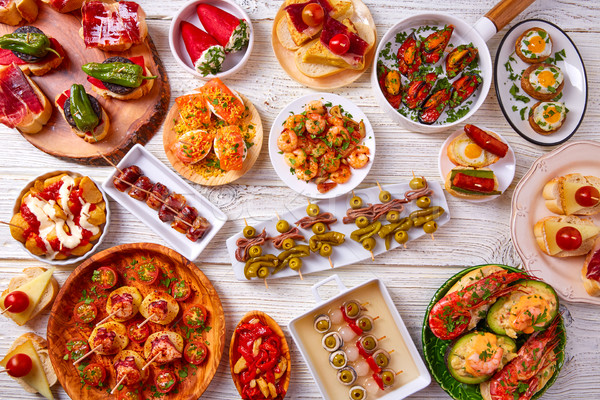 Tapas mix and pinchos food from Spain Stock photo © lunamarina
