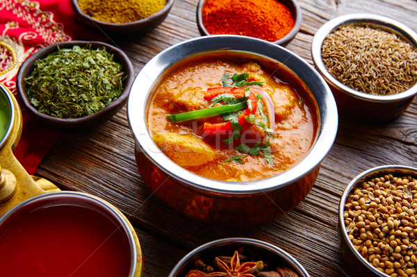 Tyúk indiai étel recept fűszer fa asztal textúra Stock fotó © lunamarina