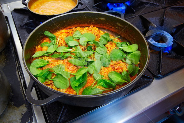 Little octopus rice with spinach and squash Stock photo © lunamarina