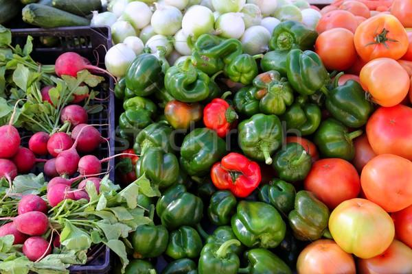 greengrocers radish tomatoes green red peppers Stock photo © lunamarina