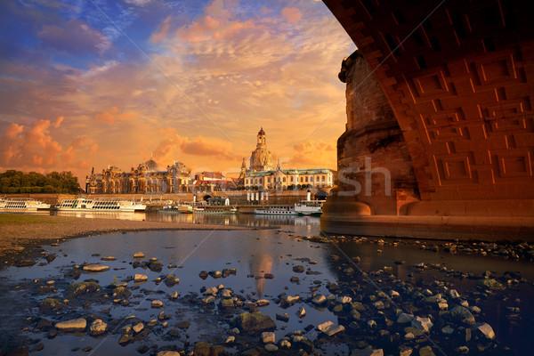 Dresden skyline and Elbe river in Saxony Germany Stock photo © lunamarina