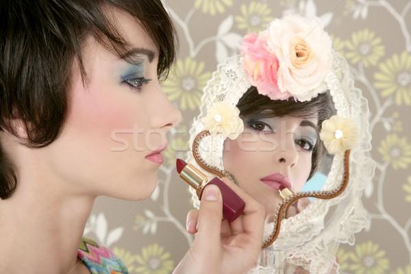 retro woman mirror lipstick makeup tacky Stock photo © lunamarina