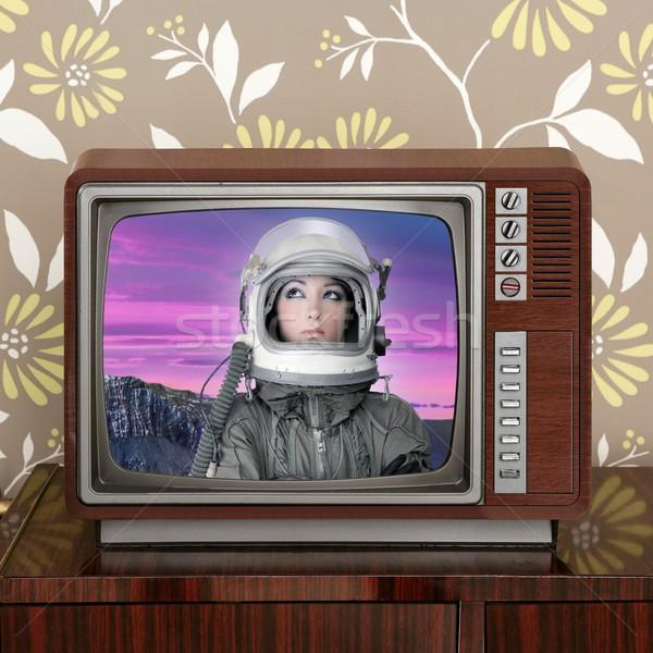 space odyssey mars astronaut on retro 60s tv Stock photo © lunamarina