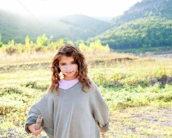 Stockfoto: Kinderen · meisje · wandelen · berg · vader · trui