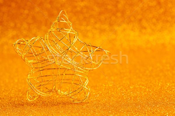 Foto stock: Natal · ouro · arame · estrela · dourado · brilho
