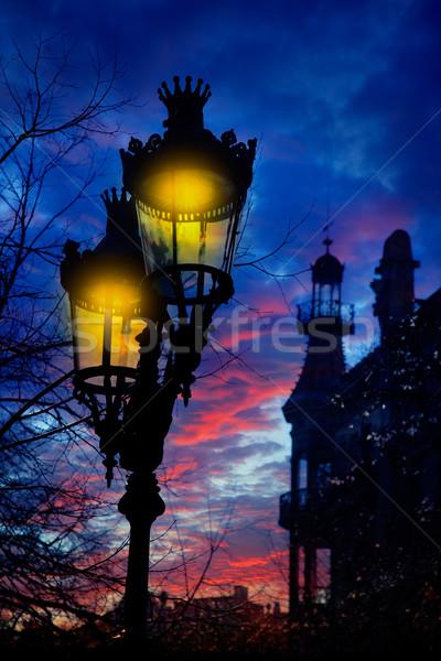 Barcelona Rambla Catalunya streetlights backligth Stock photo © lunamarina