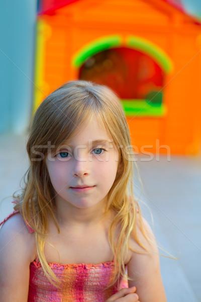 Blond kid girl smiling in outdoor playground Stock photo © lunamarina