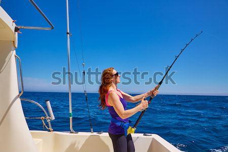 Bikini rybak kobieta córka tuńczyka dziewczyna Zdjęcia stock © lunamarina