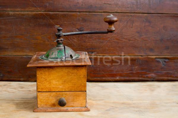 retro old coffee grinder in vintage wood Stock photo © lunamarina