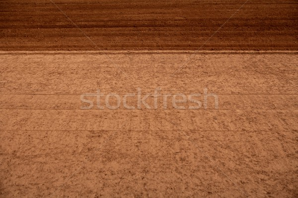 Stock photo: Ploughed red clay soil agriculture fields