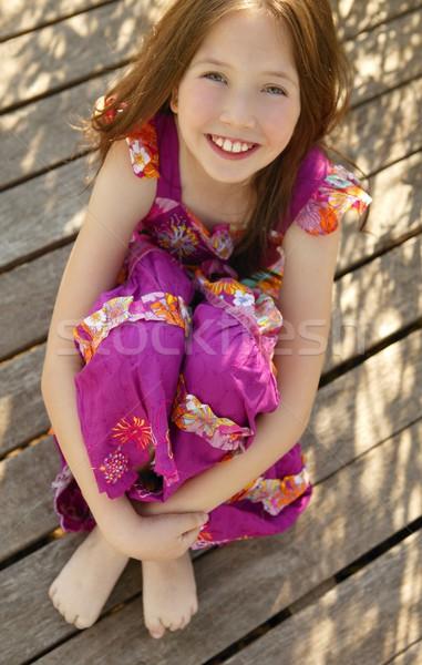 Portret mooie tienermeisje buitenshuis zomertijd meisje Stockfoto © lunamarina