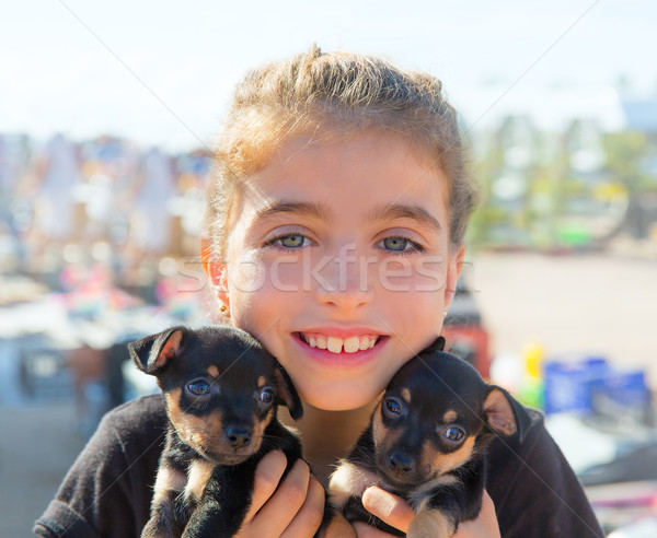 kid girl playing with puppy dogs smiling Stock photo © lunamarina