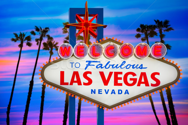 Stock photo: Welcome Fabulous Las Vegas sign sunset palm trees Nevada