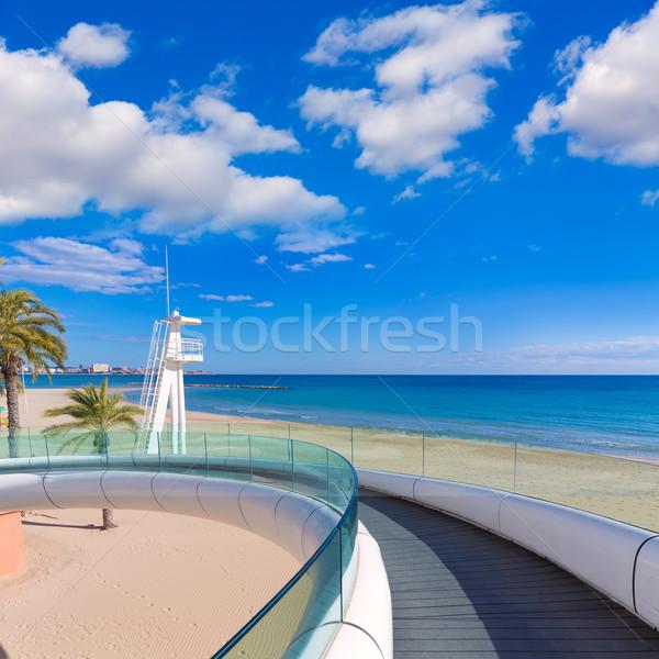 Alicante el Postiguet beach playa with modern bridge Stock photo © lunamarina