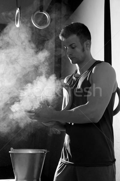 Tornaterem kréta magnézium kezek férfi tapsol Stock fotó © lunamarina