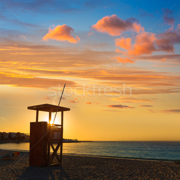 Zonsondergang strand majorca eilanden Spanje water Stockfoto © lunamarina