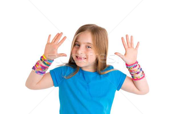 Loom rubber bands bracelets blond kid girl Stock photo © lunamarina