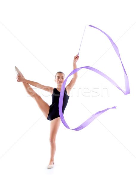 Kid meisje lint ritmisch gymnastiek oefening Stockfoto © lunamarina