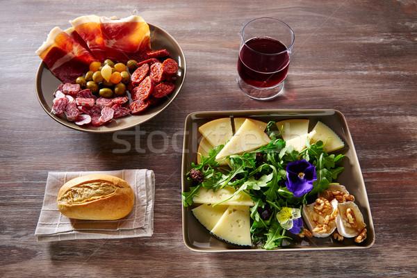Espanha comida tapas presunto salsicha queijo Foto stock © lunamarina