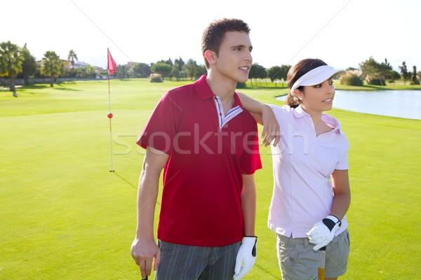Сток-фото: гольф · молодые · пару · Постоянный · счастливым