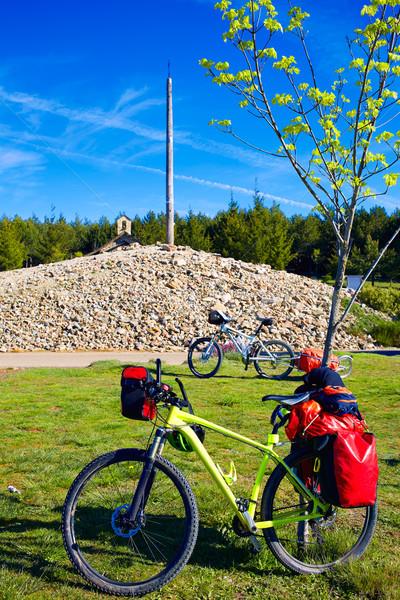 Cruz de Ferro top at Saint James Way Leon bikes Stock photo © lunamarina