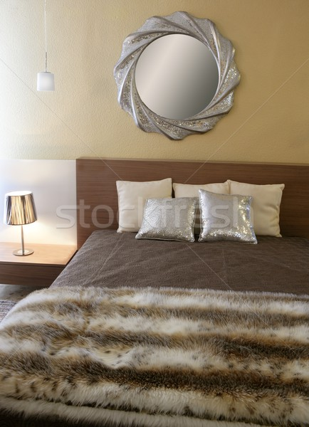 bedroom modern silver mirror fake fur blanket Stock photo © lunamarina