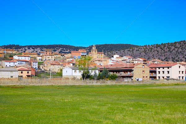 Village Espagne bâtiment montagne vert Voyage Photo stock © lunamarina