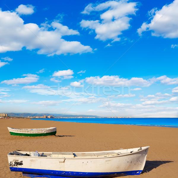 Valencia la strand boten middellandse zee Spanje Stockfoto © lunamarina