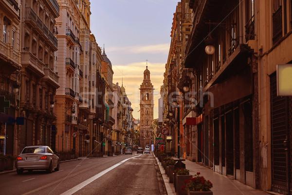 LA utca Valencia Spanyolország város naplemente Stock fotó © lunamarina
