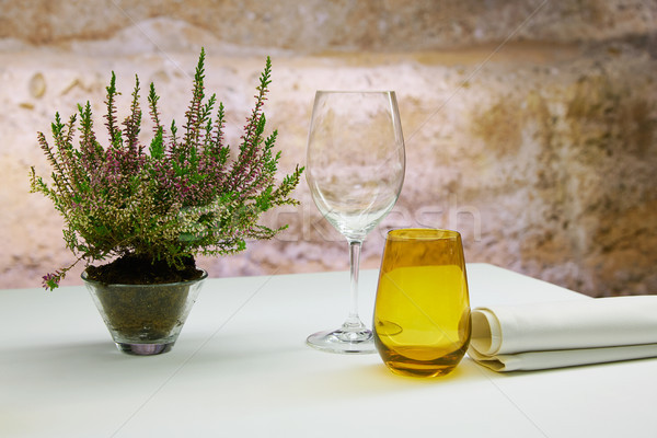 Restaurant table with mediterranean herbs Stock photo © lunamarina