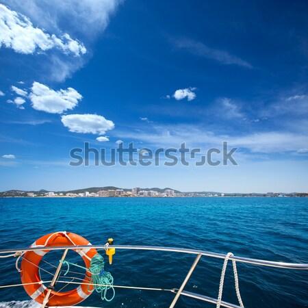 Boat bow open porthole sailing blue calm sea Stock photo © lunamarina
