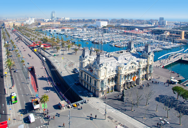 Aerial Barcelona port marina view in passeig Colon Stock photo © lunamarina