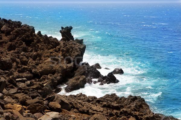 Lanzarote El golfo Atlantic ocean volcanic shore Stock photo © lunamarina