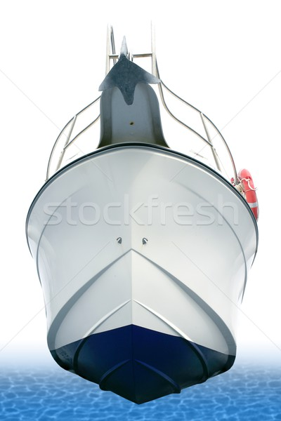 Beached white boat hull view from down Stock photo © lunamarina
