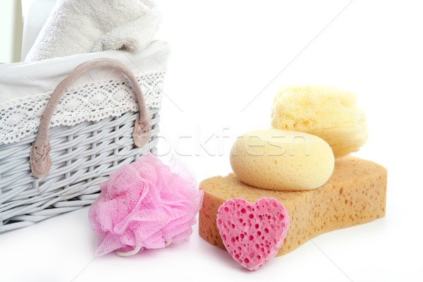 Toiletries stuff sponge gel shampoo towels Stock photo © lunamarina