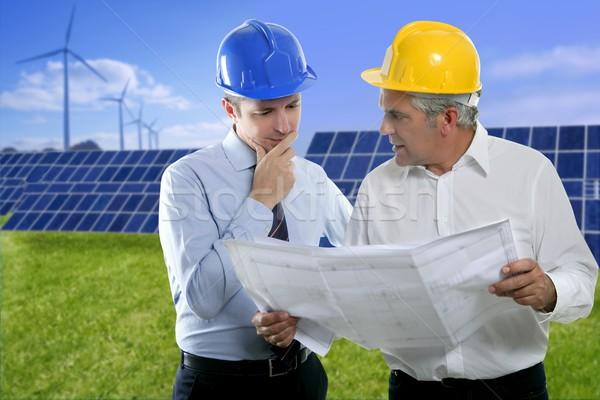 Kettő mérnök építész terv munkavédelmi sisak nap Stock fotó © lunamarina