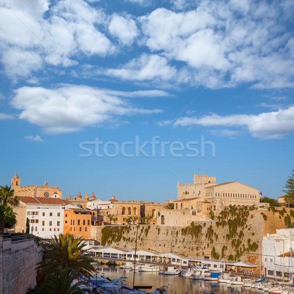 Ciutadella Menorca Port town hall and cathedral Stock photo © lunamarina