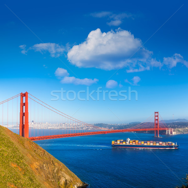 San Francisco Golden Gate Bridge merchant ship in California Stock photo © lunamarina